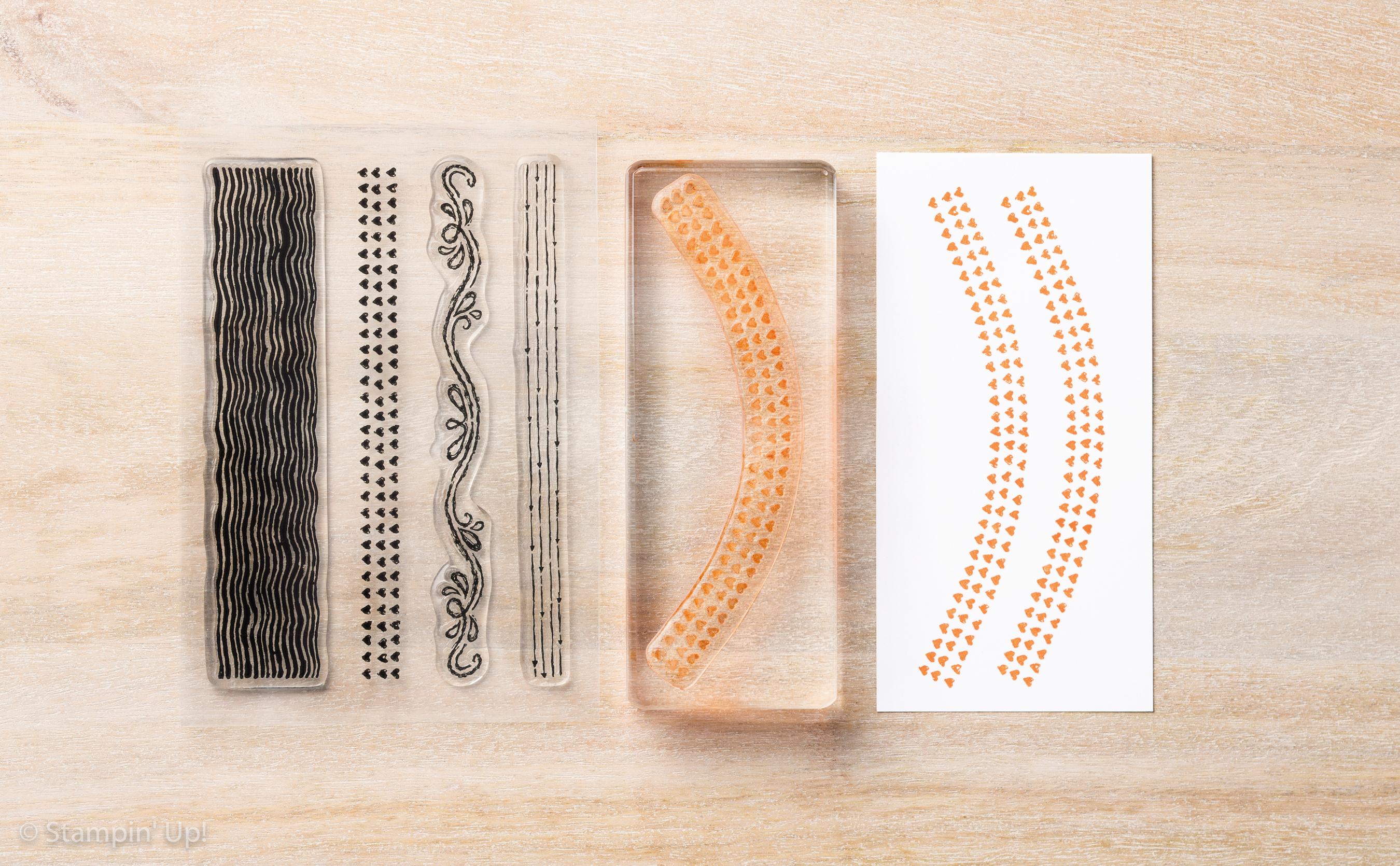 Klarischtstempel sind sehr flexibel und lassen sich unterscheidlich auf den Blöcken anbringen.