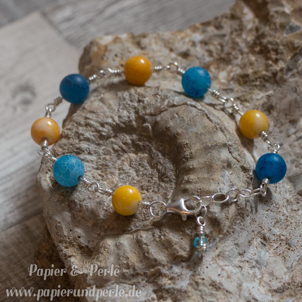 Silberschmuck - Armband mit Jade und Achat