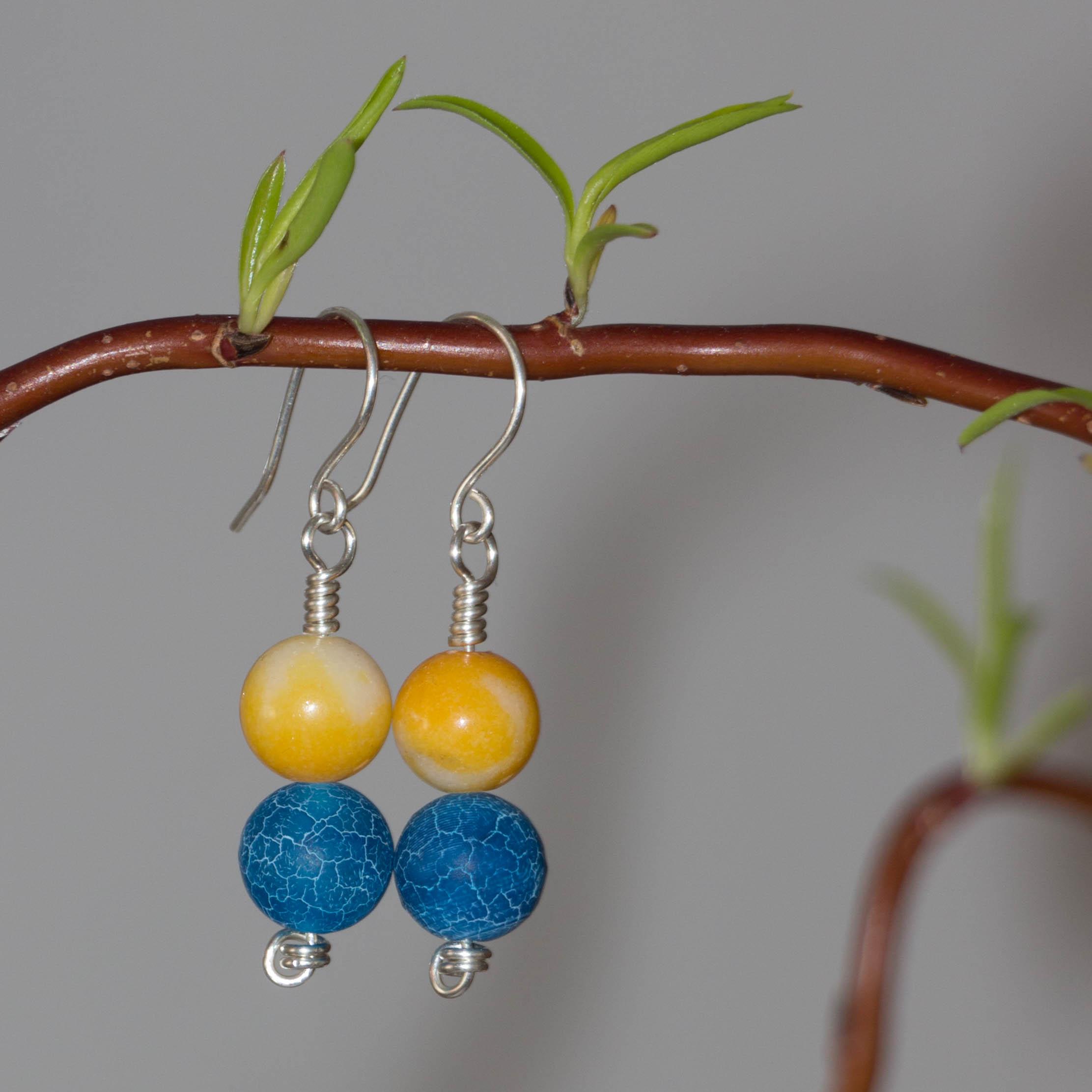 Silberschmuck - Ohrringe mit Jade und Achat